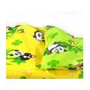 Bavlněné dvoubarevné povlečení Panda - zelenožluté