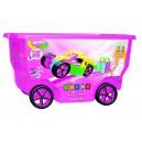 Stavebnice Clics v růžovém pojízdném boxu - Glitter 400 dílů