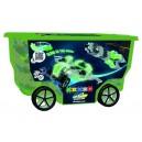 Stavebnice Clics v zeleném pojízdném boxu - 400 dílů