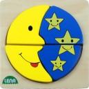 Dřevěné puzzle, měsíc a hvězdy