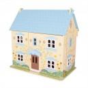 Dřevěný domeček pro panenky modrý