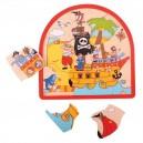 Dřevěné vícevrstvé Puzzle - Pirátská loď
