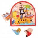 Dřevěné vícevrstvé Puzzle Pirátská loď