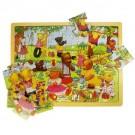 Dřevné puzzle medvědí piknik 24 dílků