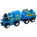 Modrá mašinka s tendrem + 2 koleje