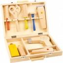Dřevěný kadeřnický kufr 9 kusů