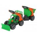 Traktor GripTruck s pluhem a přívěsem