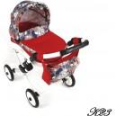 Kočárek Lili K23  - Červená+ dekor na šedé