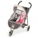 Skládací kočárek tříkolový pro dvojčata panenky Reborn