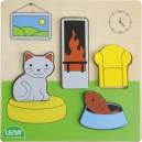 Dřevěné puzzle, obývací pokoj