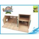 Stáj s garáží pro traktory dřevěná 55x72x32cm 1:32 v krabičce