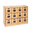 Skříňka se 2 vloženými policemi a 12 volnými zásuvkami