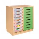 Skříňka s posuvnými dveřmi a 8 plastovými zásuvkami