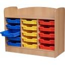 Skříň zásuvová s 15 plast. zásuvkami, 104x85x47 cm