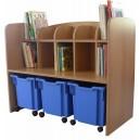 Knihovnička s 3 kontejnery na kolečkách, 104x85x47 cm