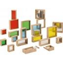 Plnící dřevěné barevné kostičky - velké