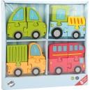 Dřevěné puzzle dopravní prostředky 4v1