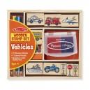 Dřevěná razítka v krabičce - dopravní prostředky