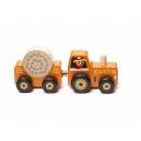 Traktor s vlekem - dřevěná skládačka s magnetem 3 díly