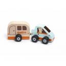Auto s karavanem - dřevěná hračka s magnetem 2 díly