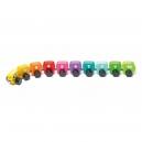 Barevná housenka s čísly - dřevěná hračka s magnety 10 dílů