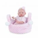Panenka - koupací miminko New Born holčička v košíčku - 21 cm
