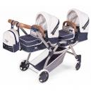 Skládací kočárek pro dvojčata panenky 3 v 1 s batůžkem TOP Collection 2020 - 81 cm