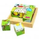 Obrázkové kostky kubusy Zvířátka 9 kostek