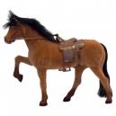 Semišový kůň se sedlem a ohlávkou