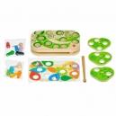 Chytání housenek – dřevěná motorická stolní hra s magnety