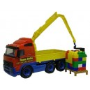 Dětské auto s ramenem jeřábu + stavebnice 30 kostek 45cm