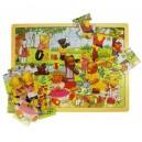Dřevné puzzle - Medvídci na pikniku