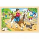 Dvůr s poníky – dřevěné puzzle, 24 díly