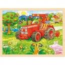 Puzzle na desce – Červený traktor, 96 dílů