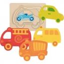 Vícevrstvé puzzle – Dopravní prostředky, 5 dilů