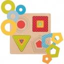 Vícevrstvé puzzle – geometrické tvary, 16 dílů